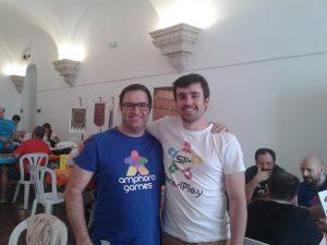 Rafa (Amphora Games) con Enrique (SmartPlay)